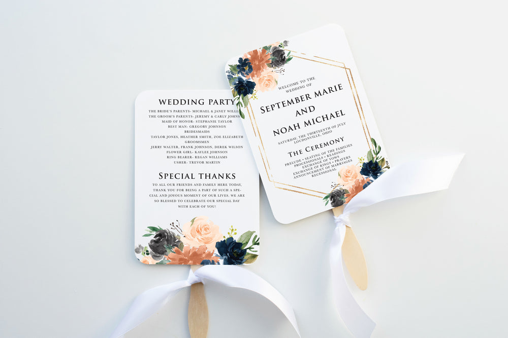 Coral Wedding Program Fan