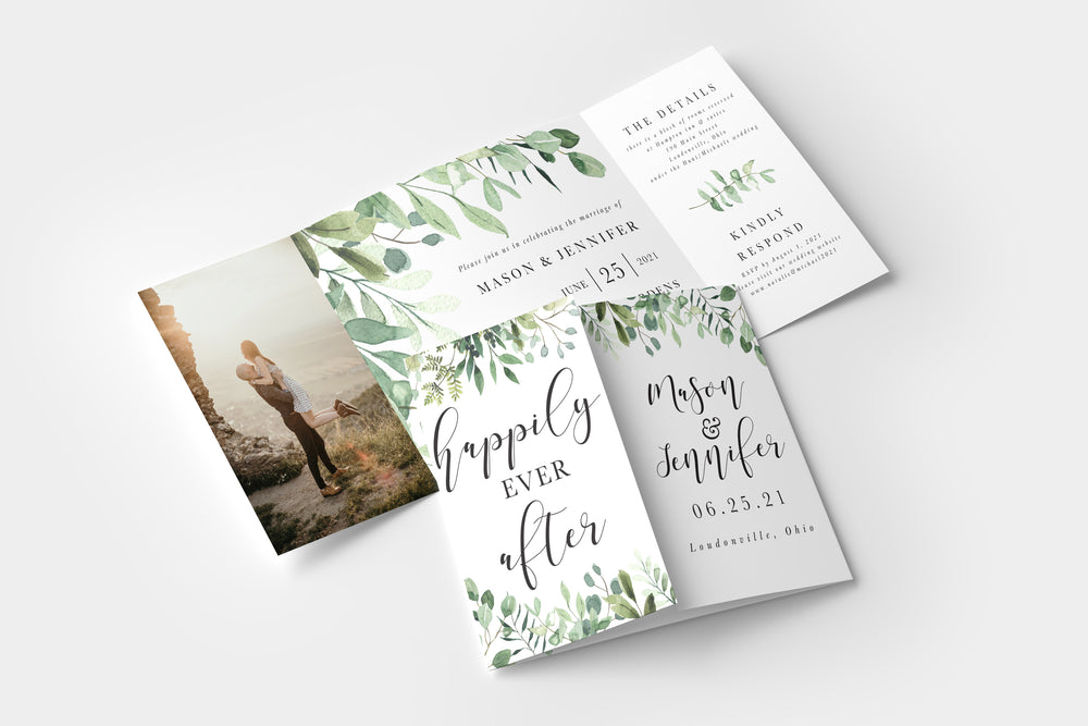 Eucalyptus Gate Fold Invitation