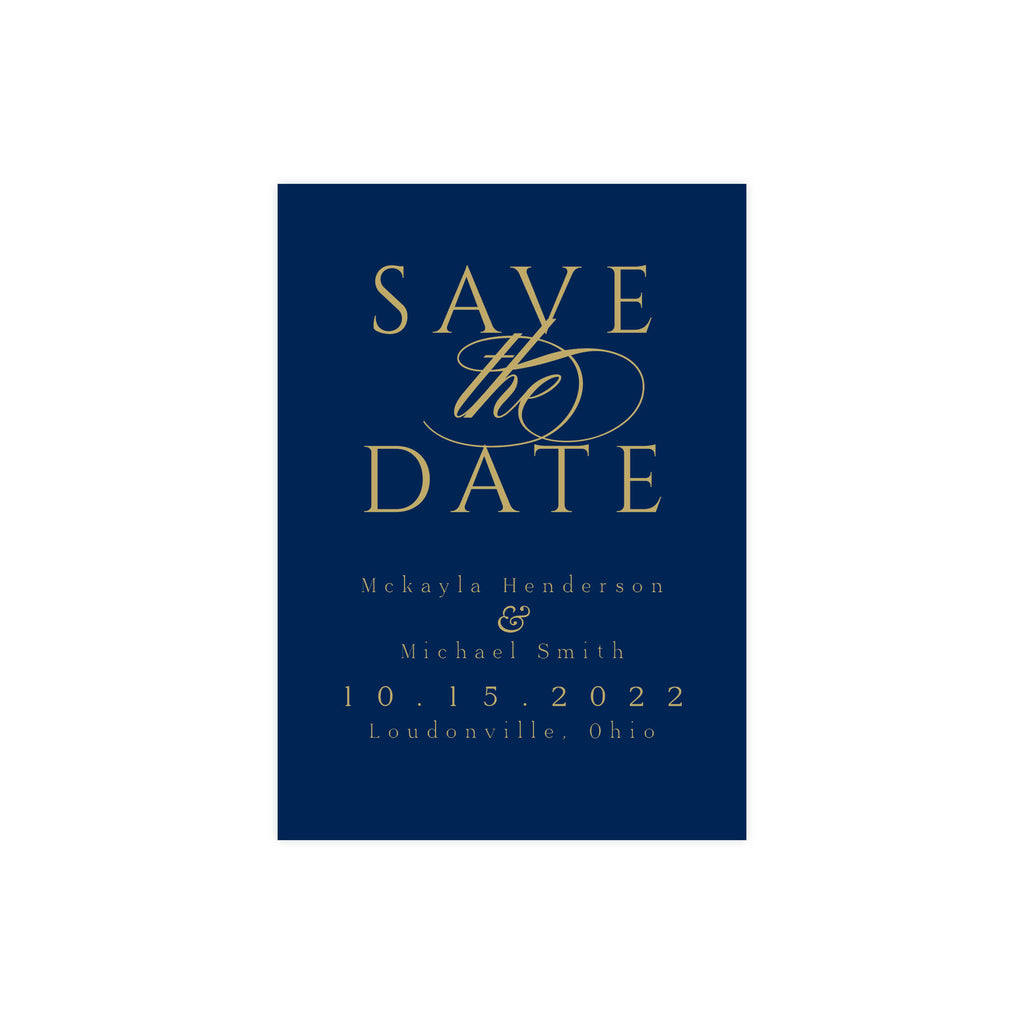 Gold & Navy Save The Date