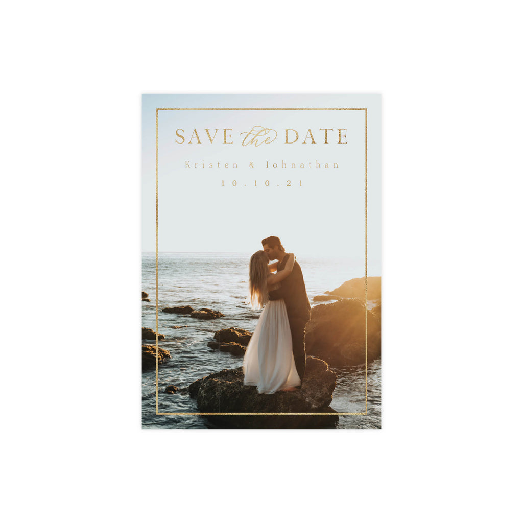 Minimal Gold Frame Save The Date