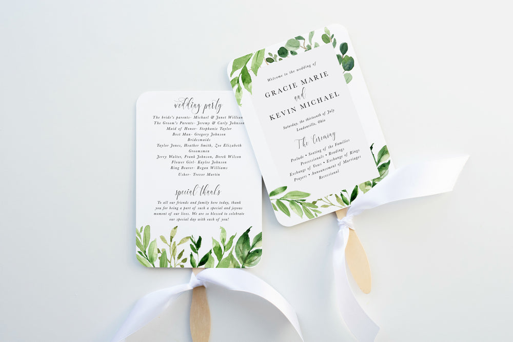 Greenery Wedding Program Fan