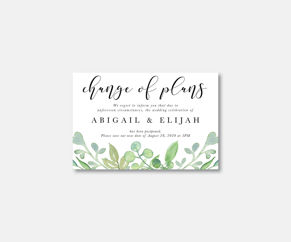 Soft Greenery Wedding Postcard