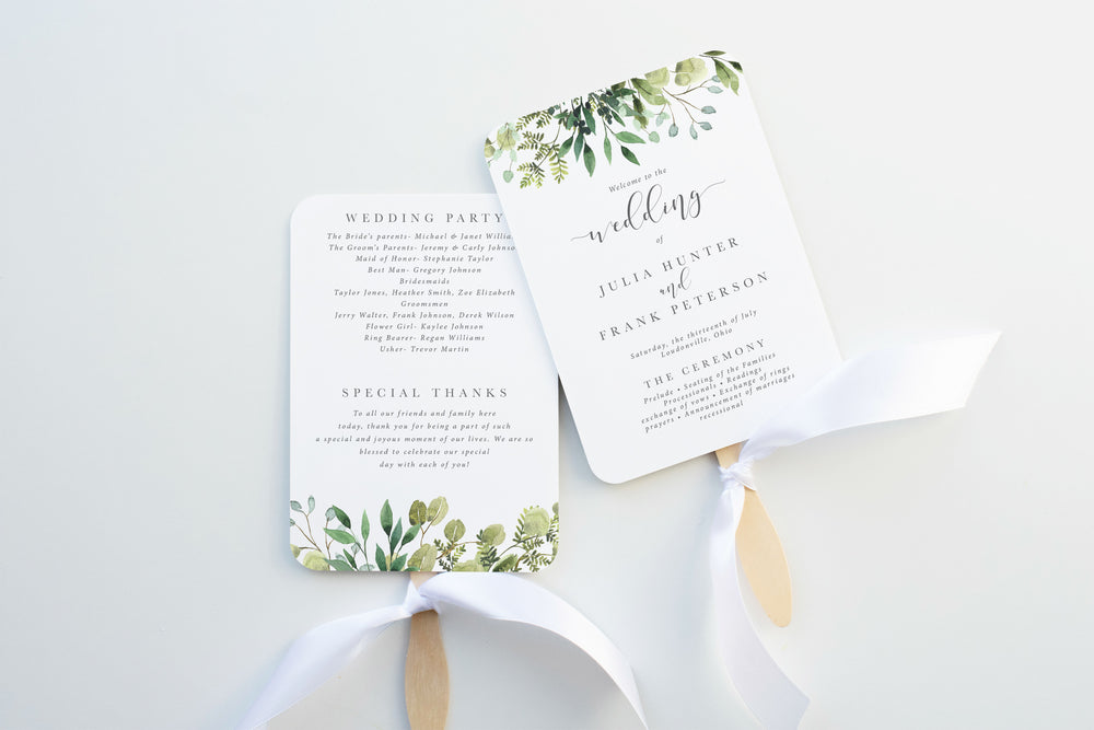 Simple Greenery Wedding Program Fan