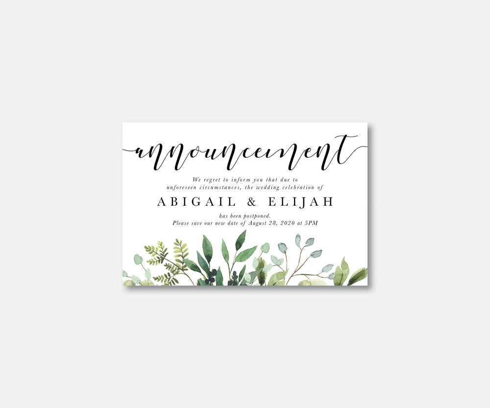 Greenery Wedding Postcard