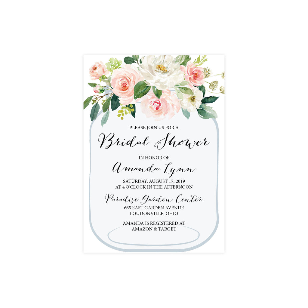 Mason Jar Bridal Shower Invite