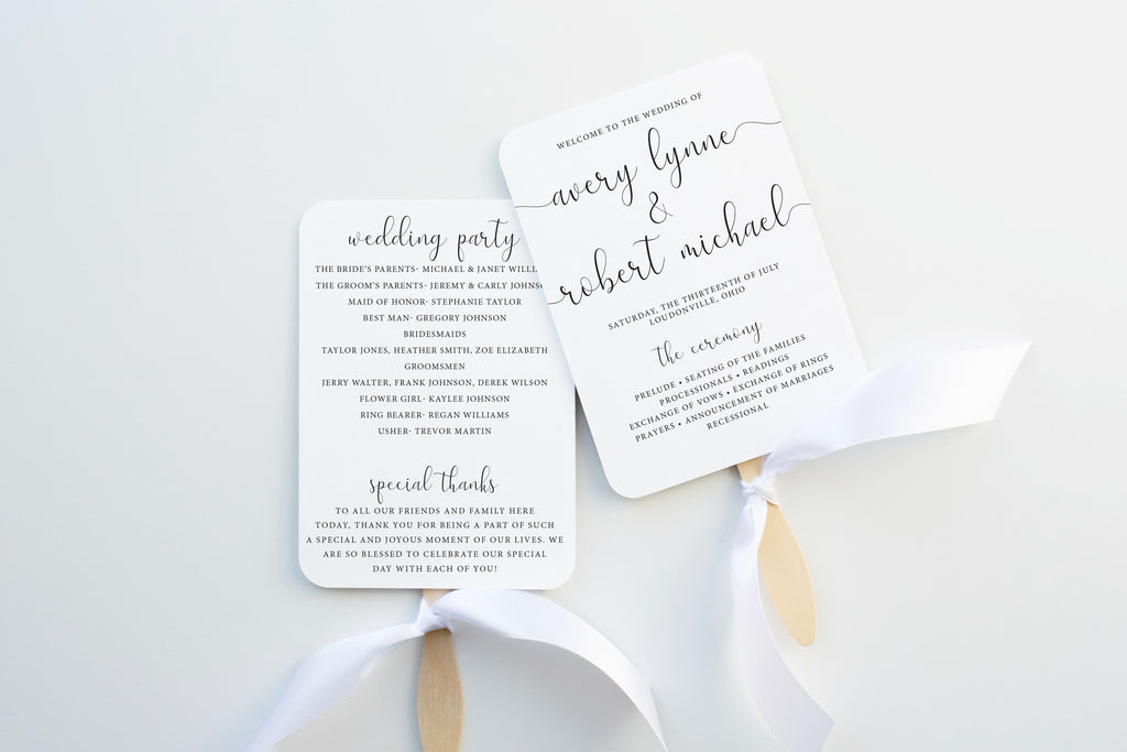 Minimal Script Wedding Program Fan