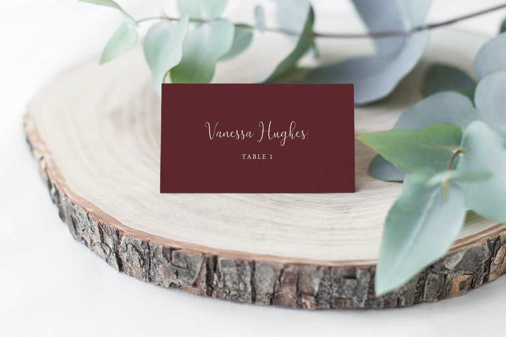 White Ink Place Cards - Burgundy