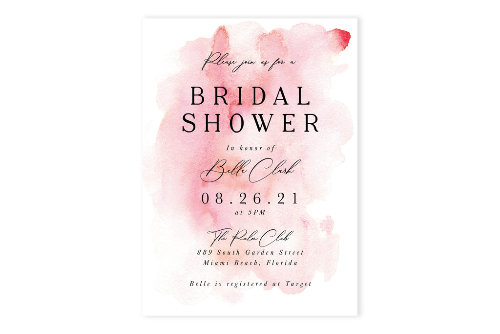 Pink Watercolor Bridal Shower Invite