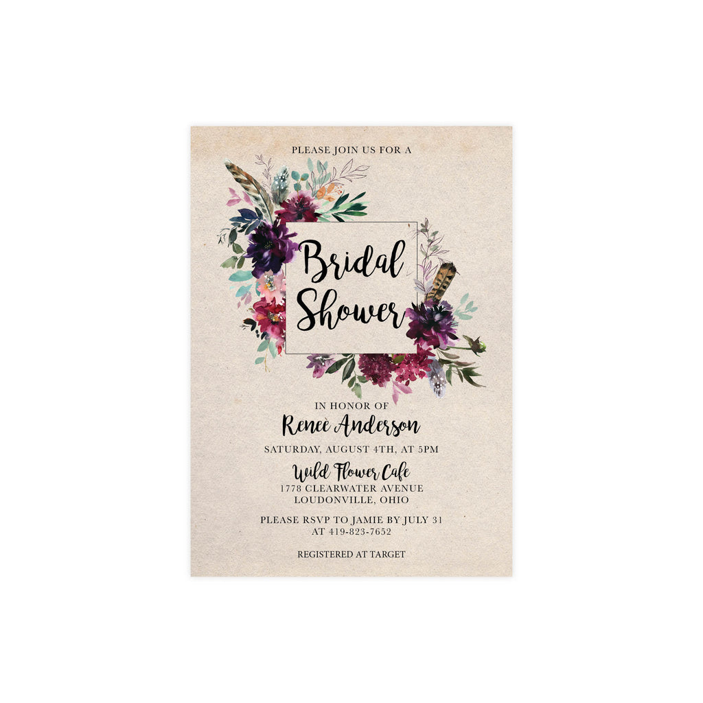 Rustic Wildflowers Bridal Shower Invite