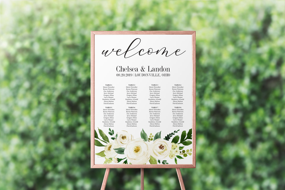 White Floral Seating Chart