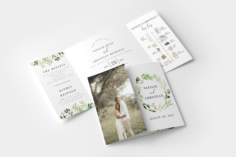 Rustic Greenery Gate Fold Invitation