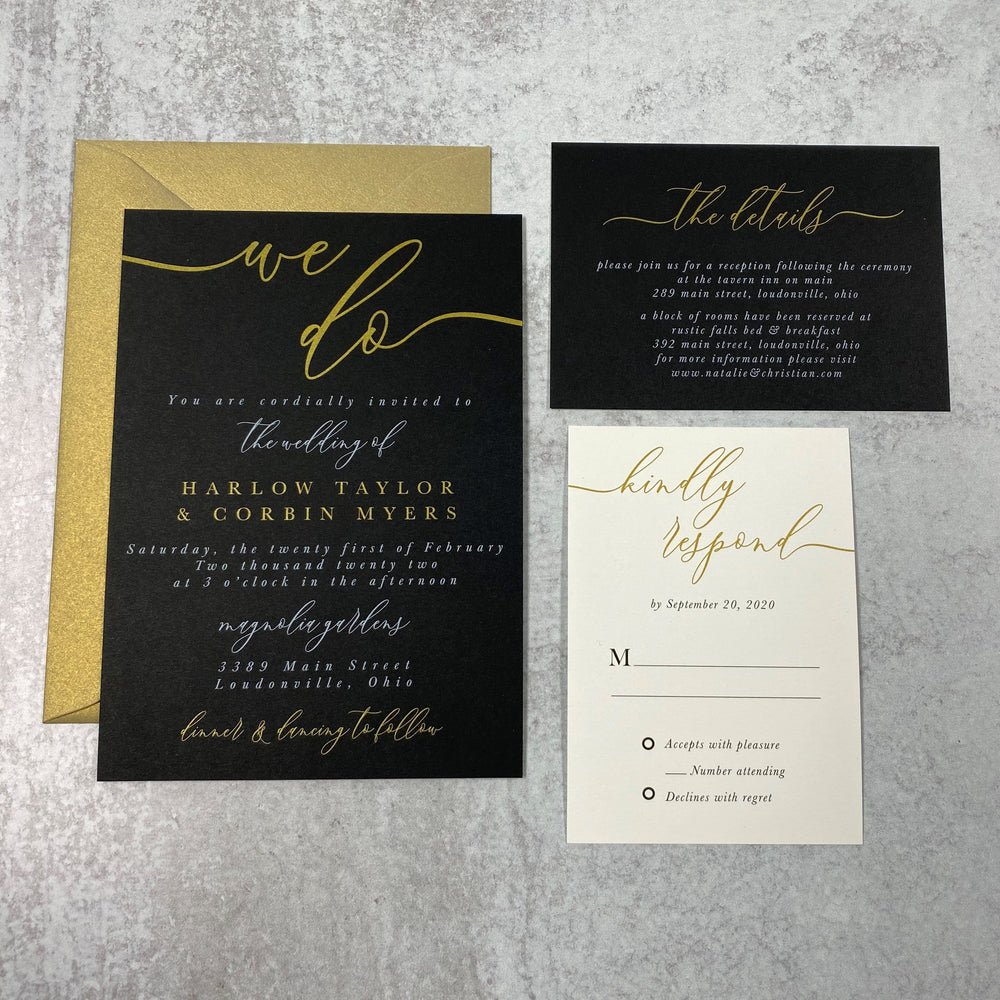 The Harlow Wedding Set - Black Paper with Gold & White Ink