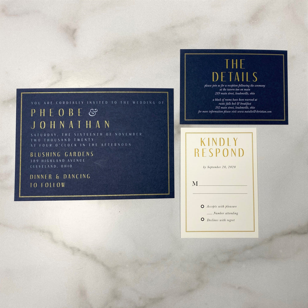 The Phoebe Wedding Set - Navy Paper with Gold & White Ink