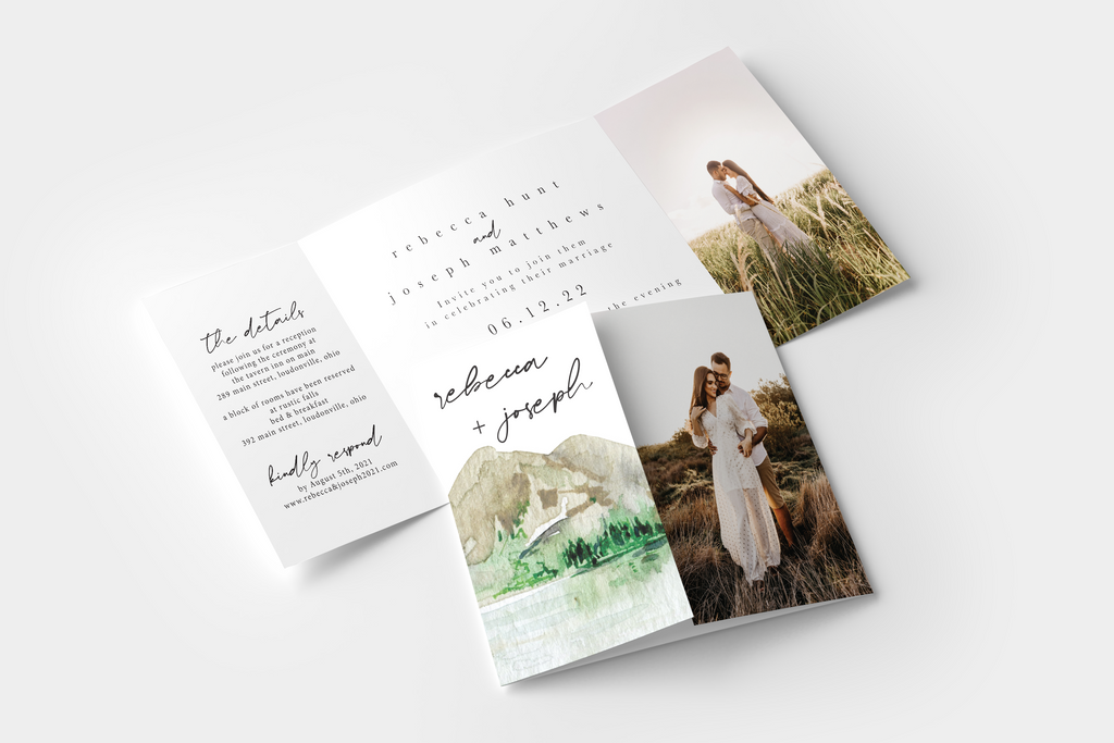 Rustic Watercolor Gate Fold Invitation