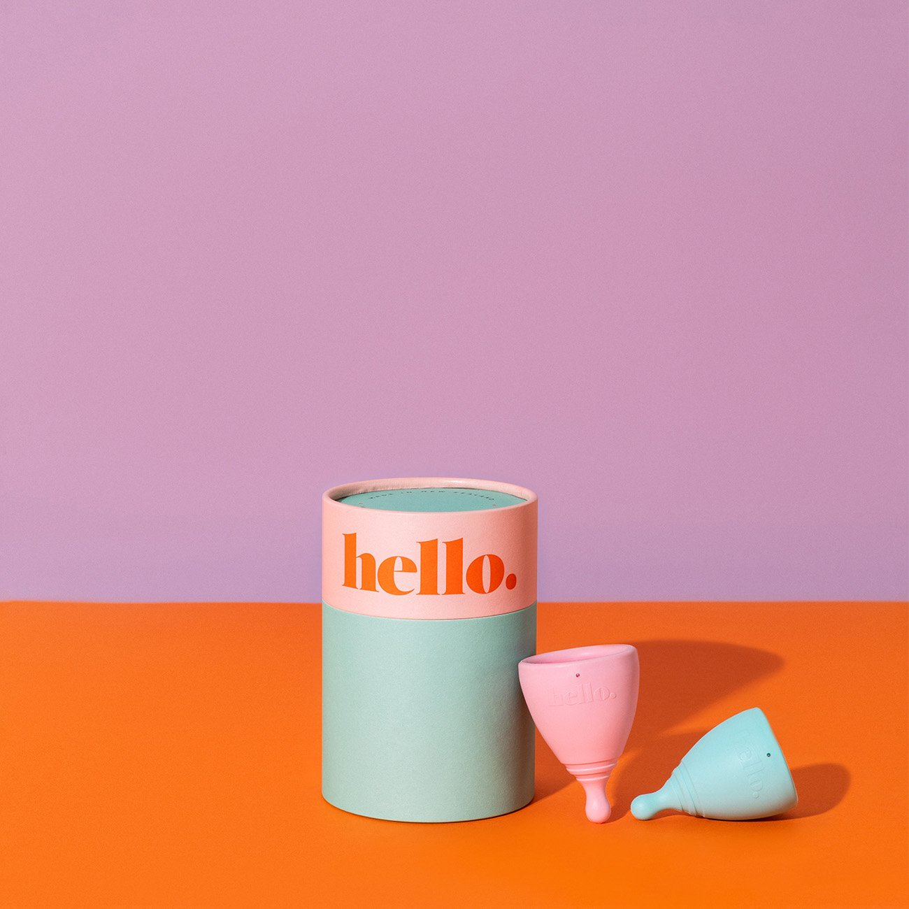 Hello Double Box menstrual cup comes in two sizes colourful menstrual cup