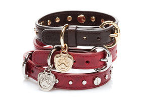"""Dante"" Italian leather dog collars with custom pug face pendant."