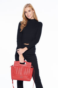"NEW!!! Red ""Marco"" top handle pleated bag"