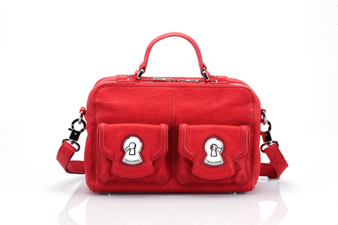 Firenze Satchel in Red Italian calf leather