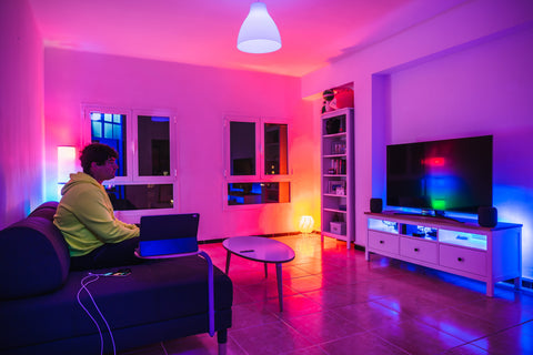 bright smart lighting in a living room neon colours