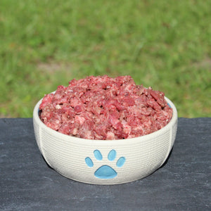 Two pound all-natural Beef Carnivore Mix raw dog food from Raw K9