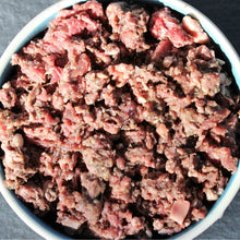 A bowl of Beef Complete Mix raw meat dog food from Raw K9