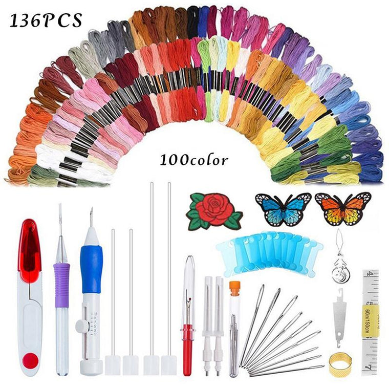 136PCS Embroidery Needle Thread Set Rainbow Color Embroidery Line Sewing Tool DIY Needle And Thread Set