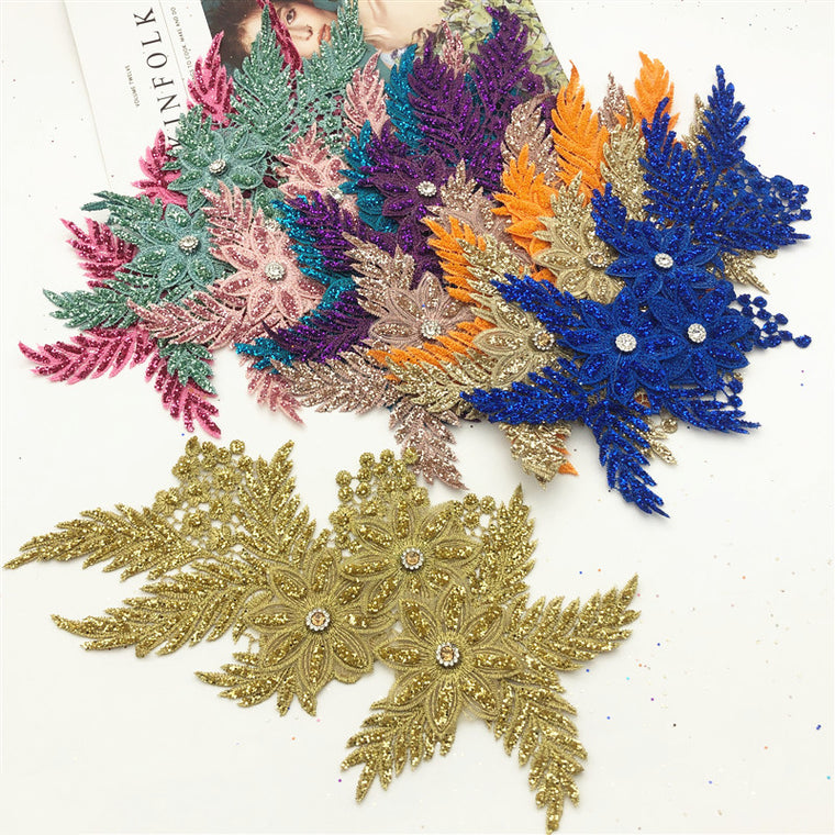 10pcs Embroidered Flower Applique with   Sew On Patch Clothing with Bright powder  craft garment