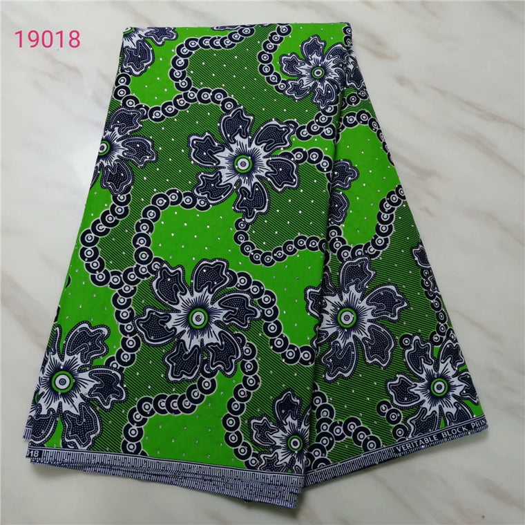Green ankara african fabric wax print with stones ankara wax prints nigerian wax for sewing material 6yards