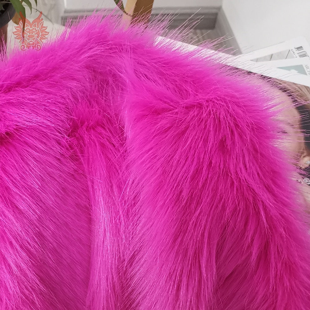 Luxury bright style high density blue fake fox fur fabric for for winter coat vest photography props fourur decoration SP5781