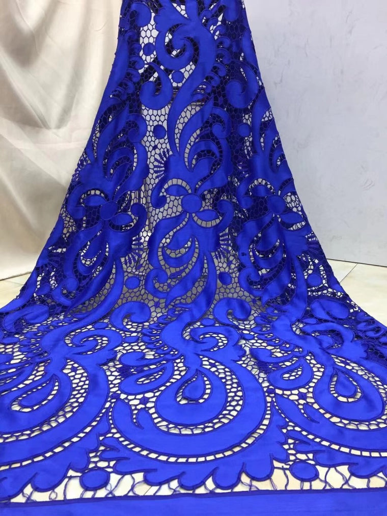 2020 African chiffon Lace High Quality French tulle Lace Fabric royal blue Color African Lace Fabric For Nigerian Wedding Dress