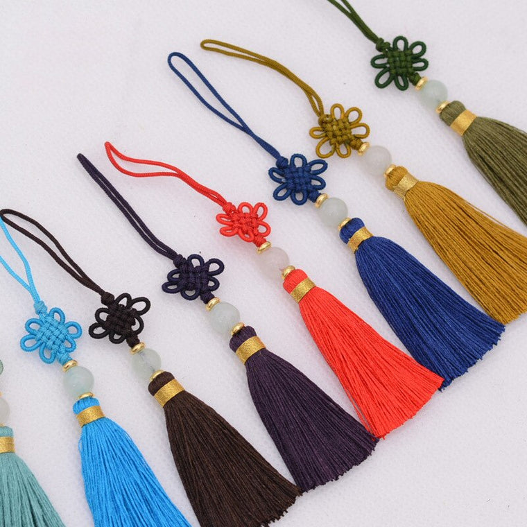 10pcs/lot Diy Chinese Knot Colorful Silk Tassel Curtain Tassel Fringe Rayon Thread Long Beads Tassel
