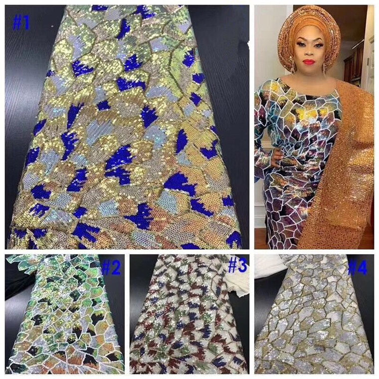 2019 New French Nigerian sequins net lace,African tulle mesh Sequence lace fabric high quality for wedding dress 5yards/lot