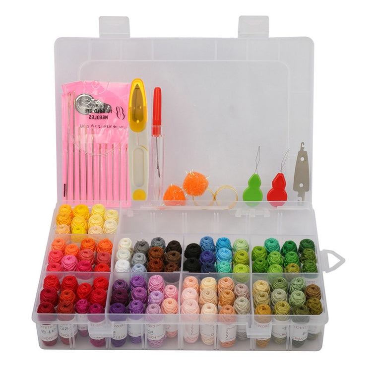 100 Colors Embroidery Cross Stitch Thread Kit Mini Line Group With Threader Thimble Sewing Needles Scissors Sewing Kit with Box