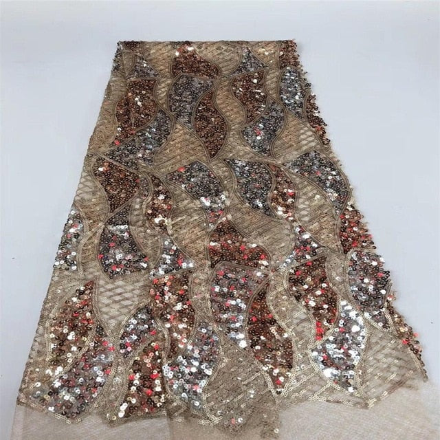5 Yards African Embroidered Lace Tulle Fabric For Party Dress And Gown French
