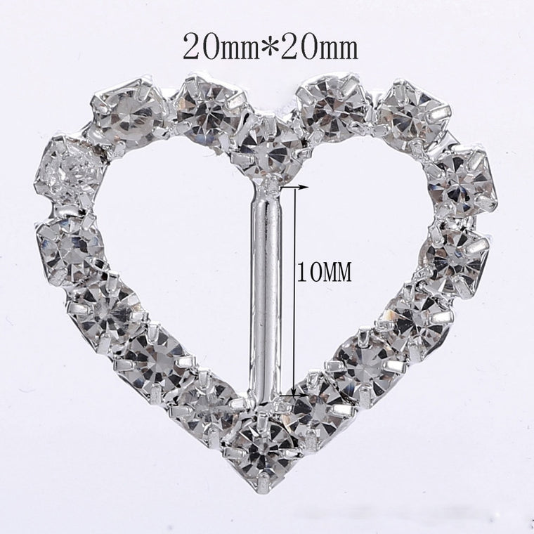 100pcs/Heart Rhinestone Buckles/Ribbon Sider For Craft Supplies Hair Accessories Wedding Invitation Card DIY Decorativds