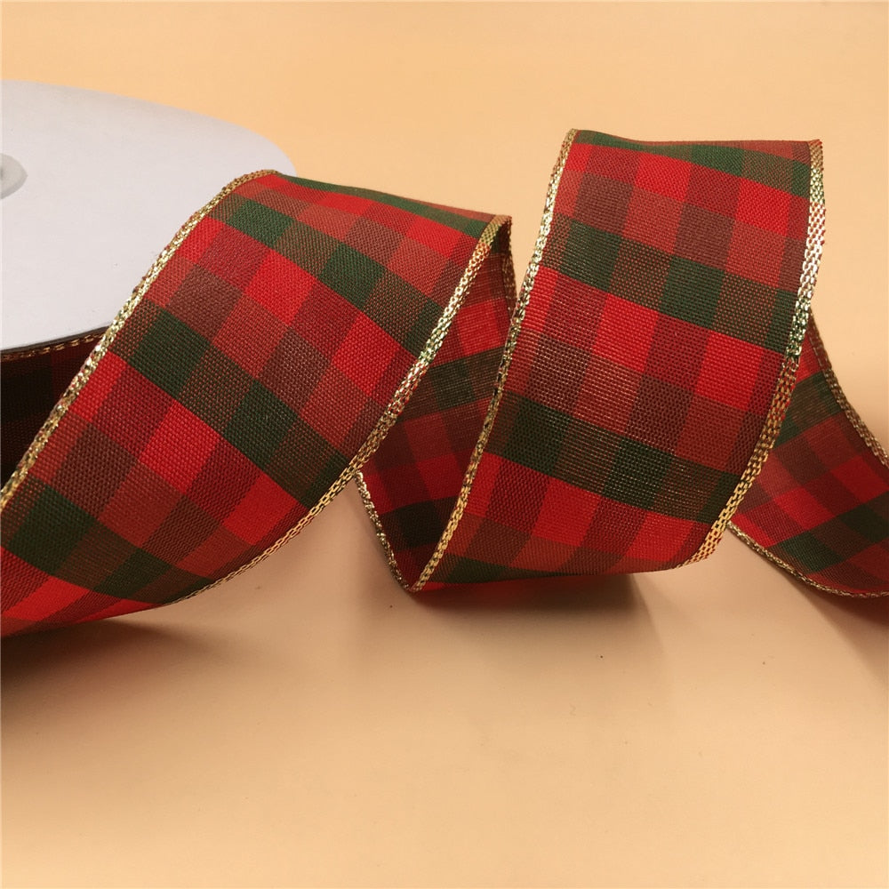 N1010 38mm X 25yards Wired Gold Lurex Edges Scottish Plaid Grid Ribbon for DIY Home Decoration Gift Wrapping Christmas Ribbon
