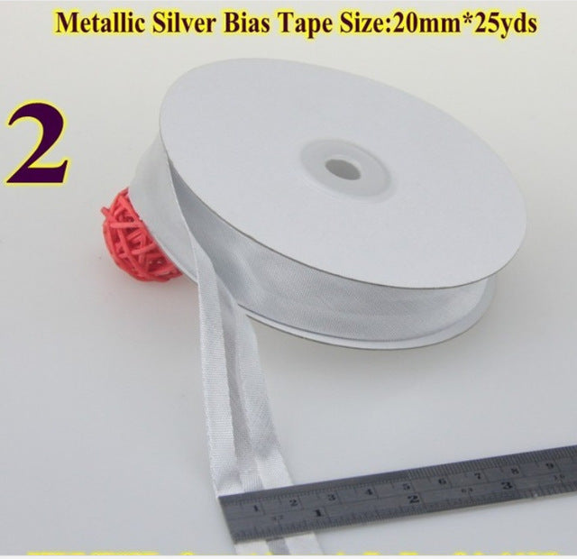 Polyester Satin Bias Tape Flange Piping Trim  Binding Covered Insertion Tap Upholstery Sewing Garment Accessories 20mm 25 Yard
