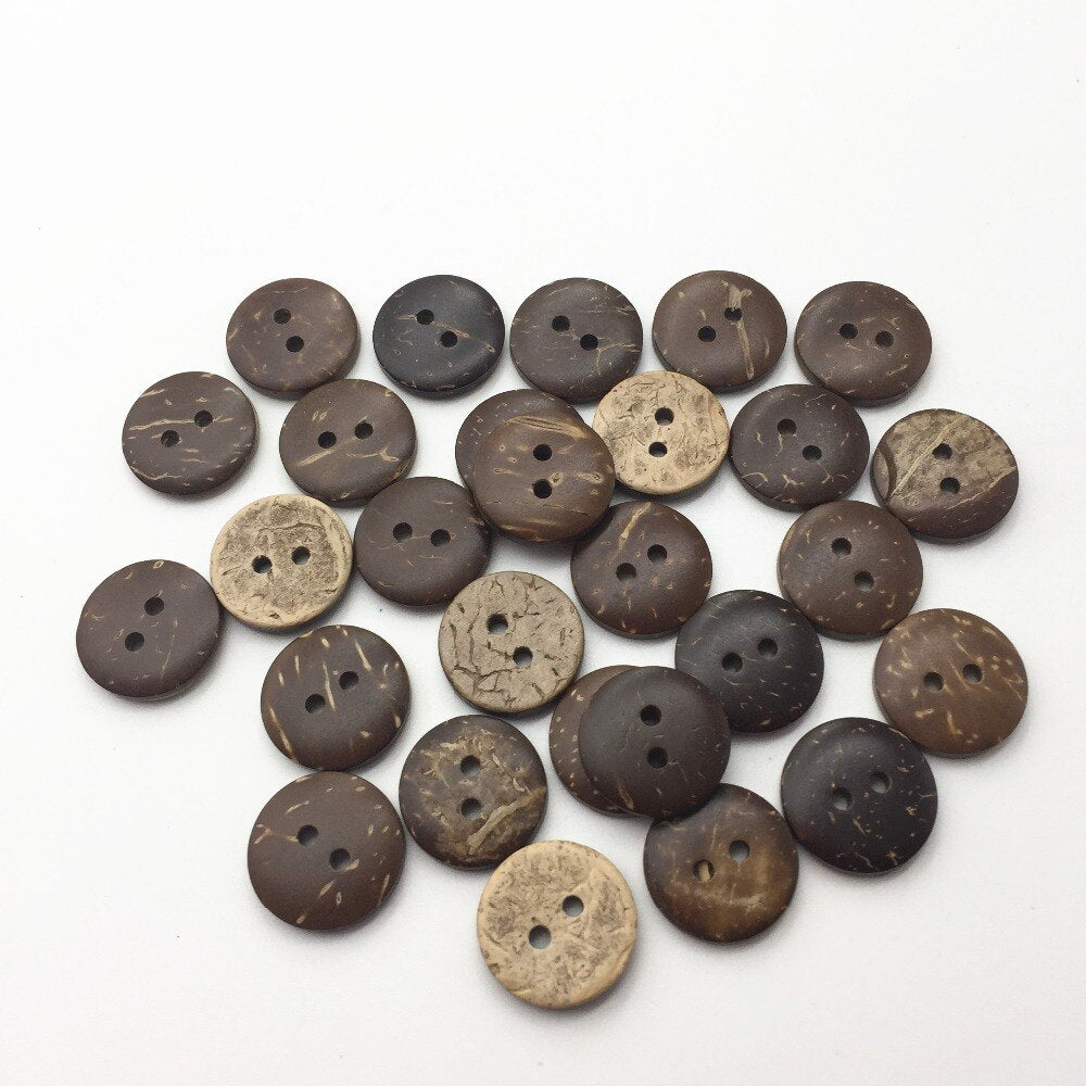 1000pcs/lot 13mm Brown Coconut Shell Buttons Round Sewing Button With 2 Holes Cardmaking Scrapbooking