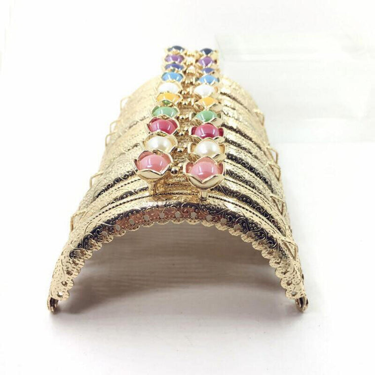 20pcs/10pcs 8.5CM Lotus head Bag Kiss Clasp Light gold semicircle Metal Coining Pattern Purse Frame DIY Bag Sewing Accessories