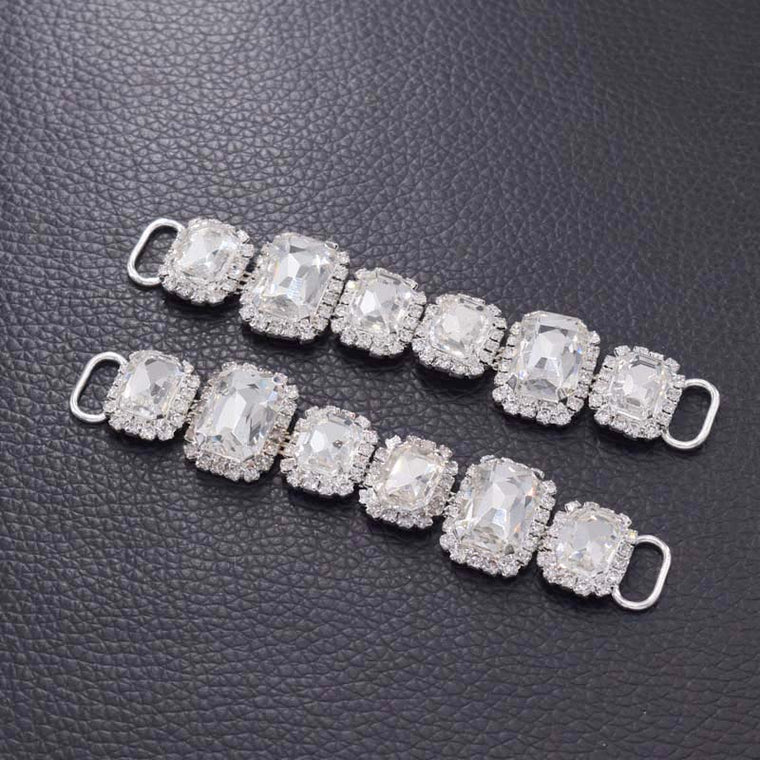 10pcs Luxury Shiny glass strass bikini connector rhinestones patches for beach clothings summer garment DIY accessories crystal
