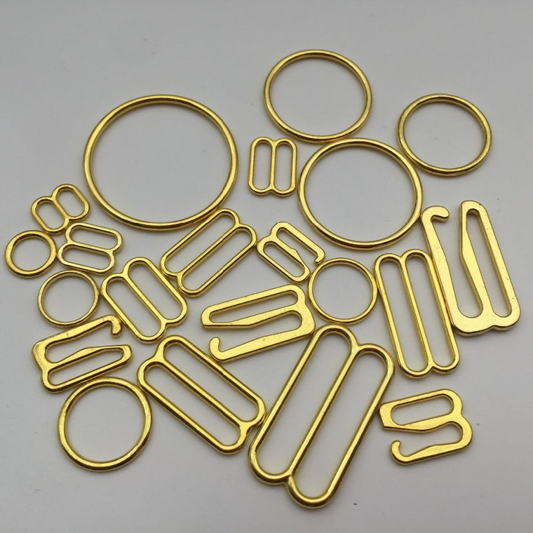 200pcs/pack DIY Accessories Gold Alloy Bra Strap Adjustment Buckles Underwear Sliders Rings Clips For Bra Lingerie