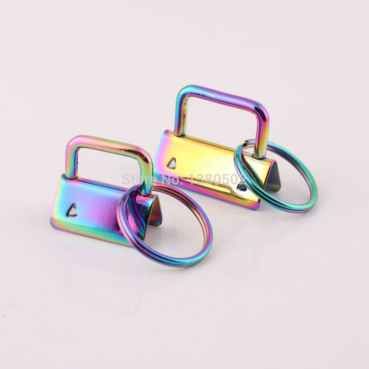 10pcs /lot Fashion 25/32mm Rainbow Color Metal Key Fob Hardware with key ring Buckles For Ribbon Webbing