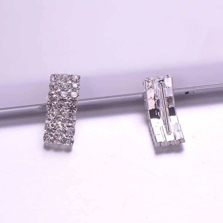 (J0242) 100pcs/lot, 15mm inner bar rhinestone buckle for wedding,silver or light gold or gold plating