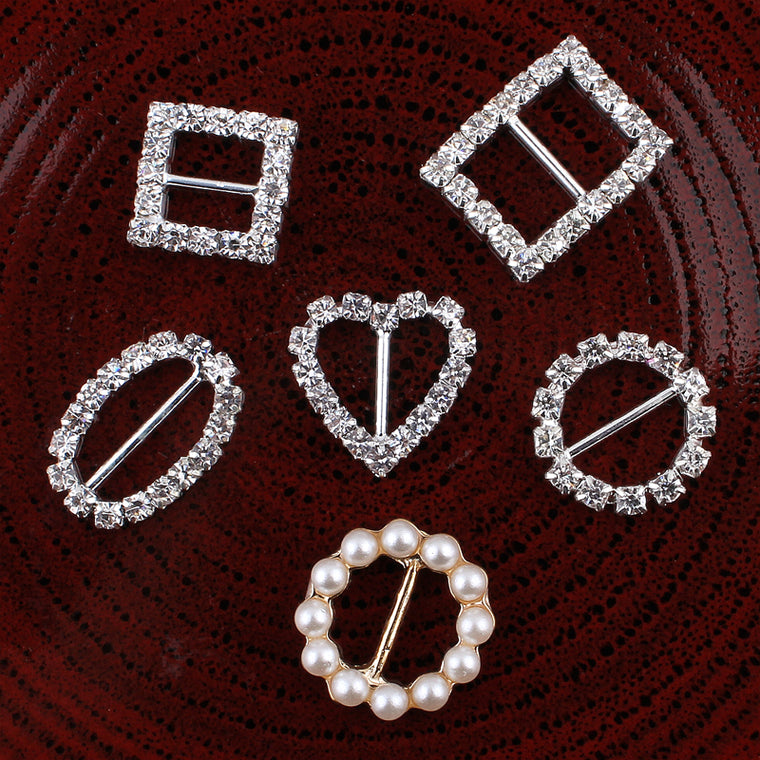 120pcs/lot 6styles Bling Metal Rhinestone Buckle Sliders For Bags Clear Crystal Ribbon Buckles For  Wedding Decoration