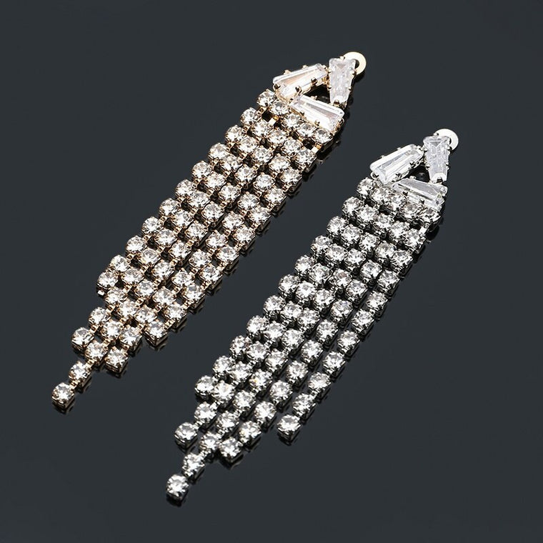 2019New 50Pcs 5Rows Rhinestone Tassel Buckle/Pendant For earring Decoration and DIY hair accessoriess FT11-FY16