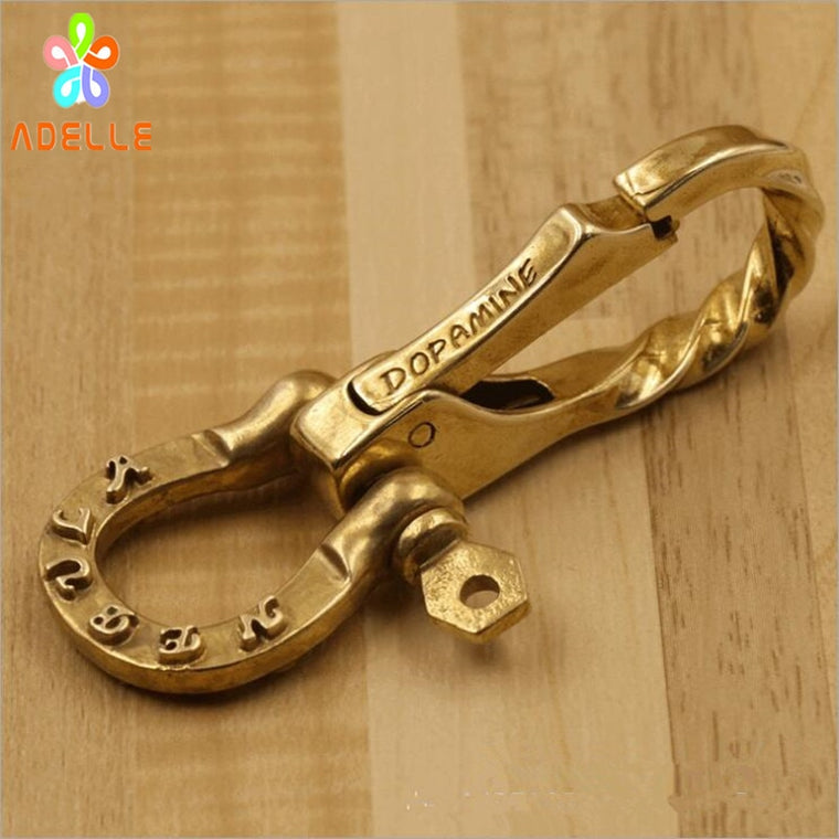 2x 100% Solid Brass Lobster Clasp clip Swivel Hook with U shaped Buckle Key Ring DIY Bag Dangle PET chain Gift Free Shipping HOT