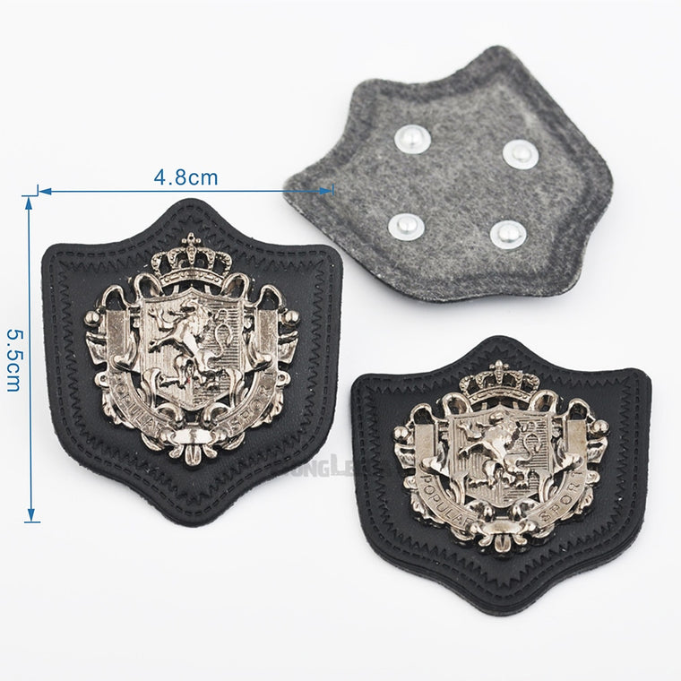 25pcs/lot black PU leather Badges sew on label metal alloy logo antique silver color for jeans/sportswear free shipping PLB-004