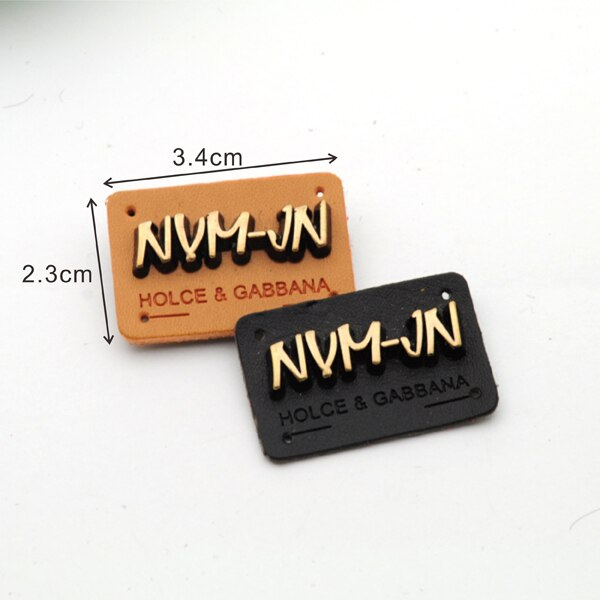 25pcs/lot black/brown PU leather sew on Badges with matt bronze brush metal plates clothing label for jeans/jacket PLB-006