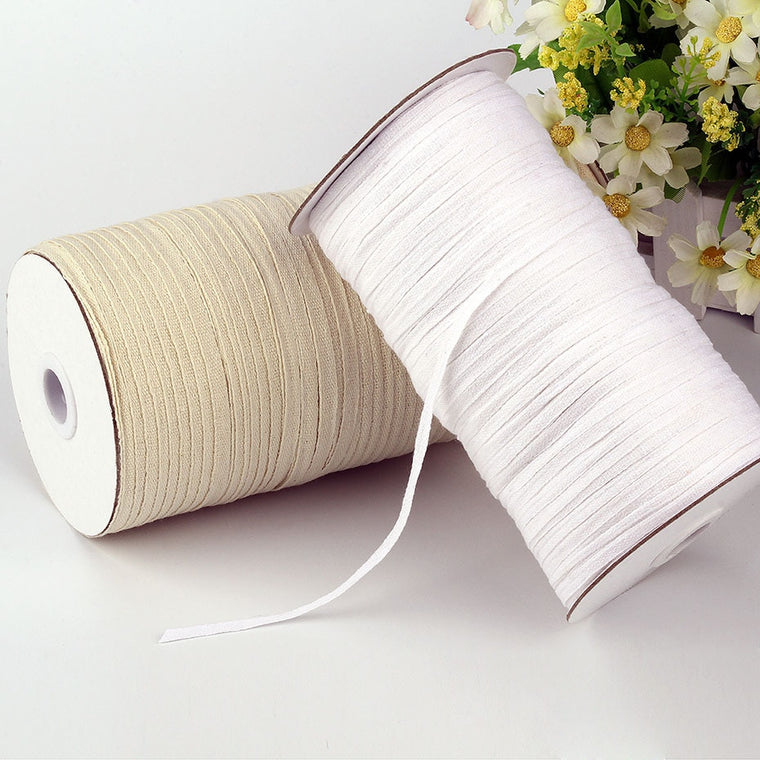 220/280/300 Meters 5mm/7mm Width Cotton Webbing Garment Sewing Accessories Ribbon Strap Tape White/Beige/Black For Clothing Bag