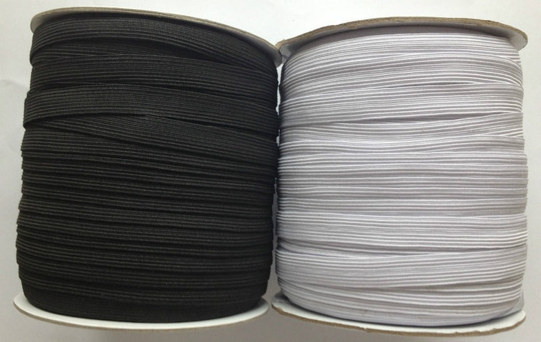 144 YARDS 1/2 Inch 12mm Wide High Quality 16 Cord Flat Elastic in Black or White